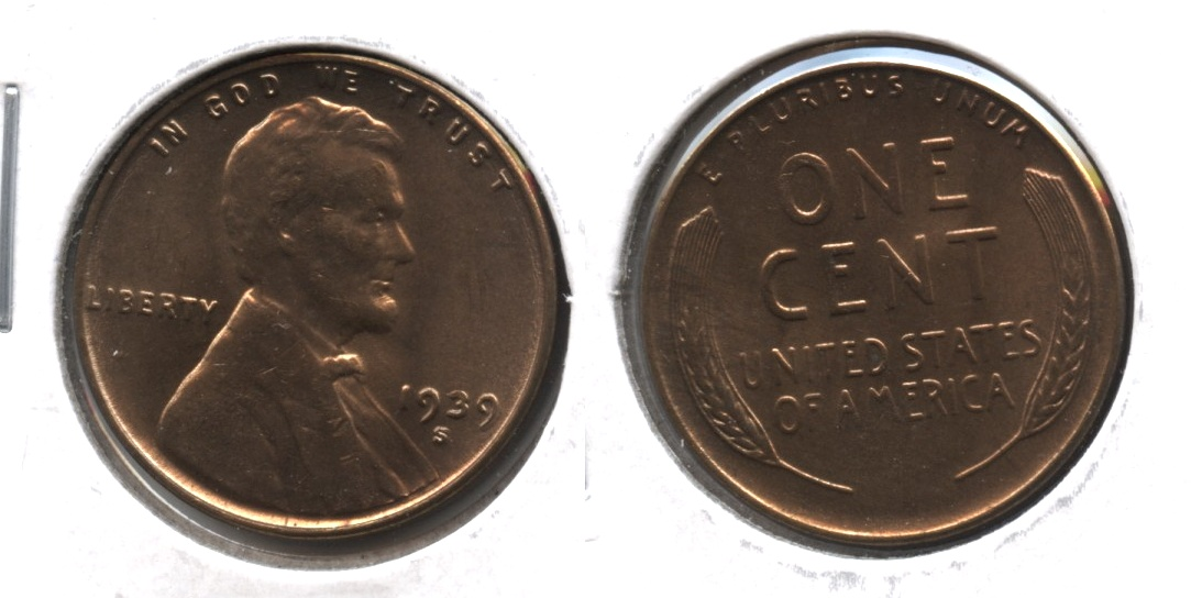1939-S Lincoln Cent MS-63 Red Brown #b