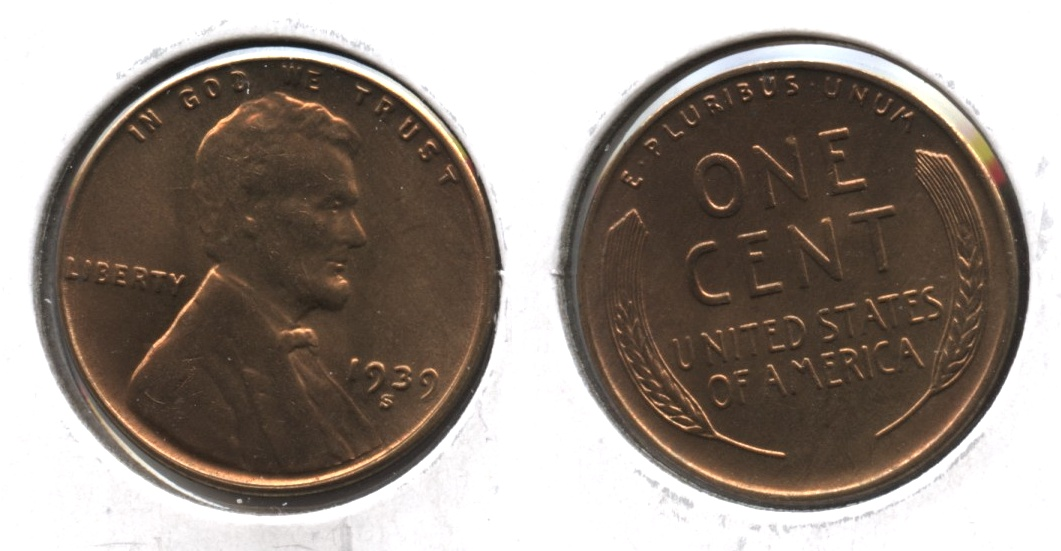 1939-S Lincoln Cent MS-63 Red Brown #f