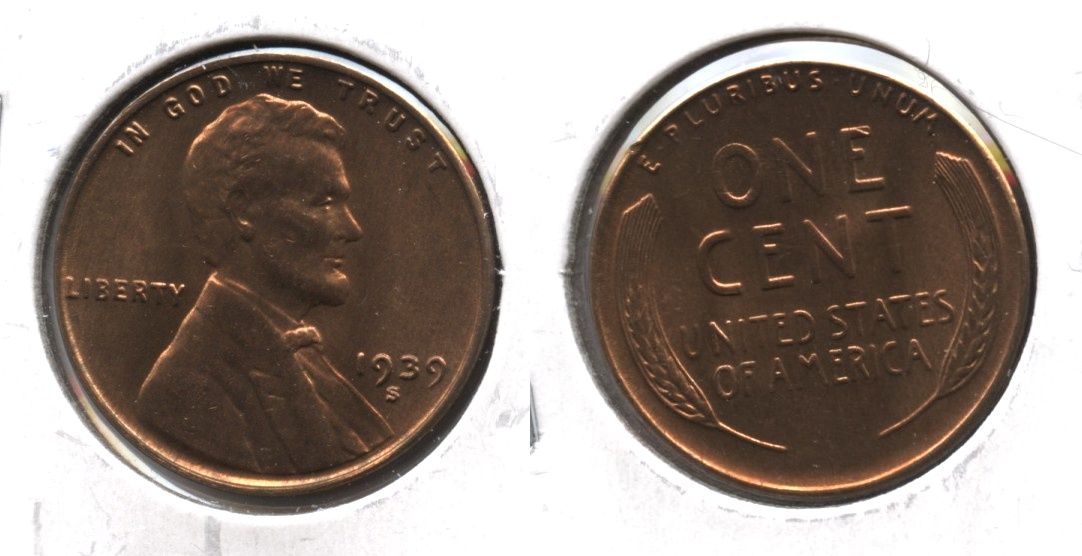 1939-S Lincoln Cent MS-63 Red Brown #g