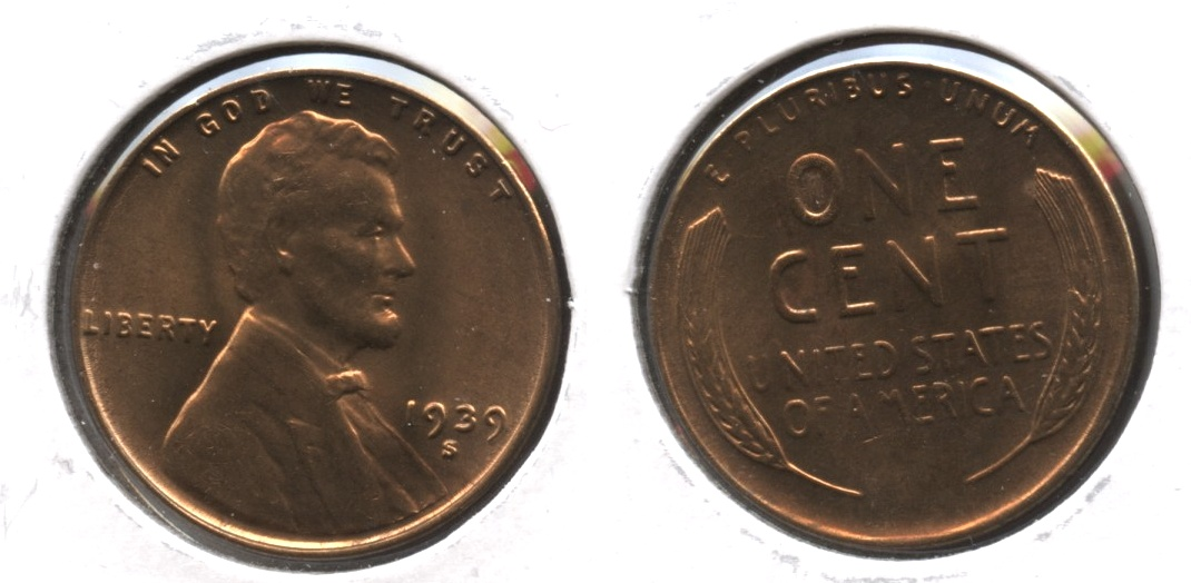 1939-S Lincoln Cent MS-63 Red Brown #i
