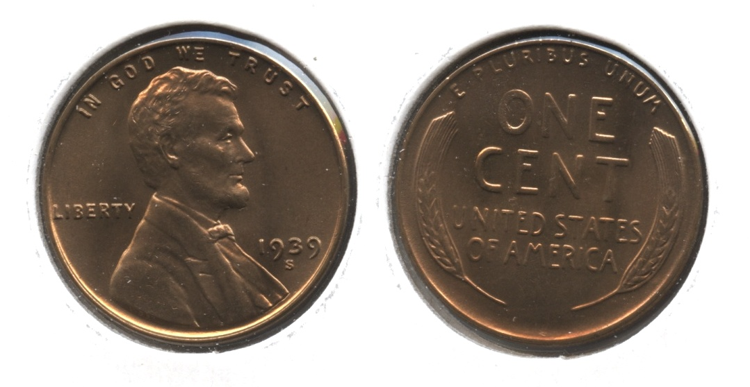 1939-S Lincoln Cent MS-63 Red Brown #k