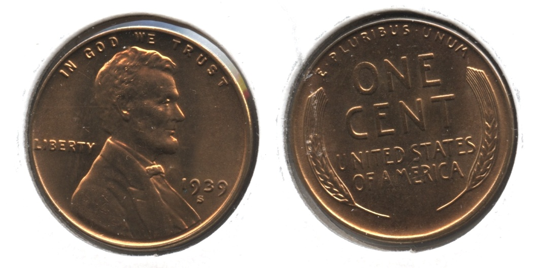 1939-S Lincoln Cent MS-63 Red Brown #n