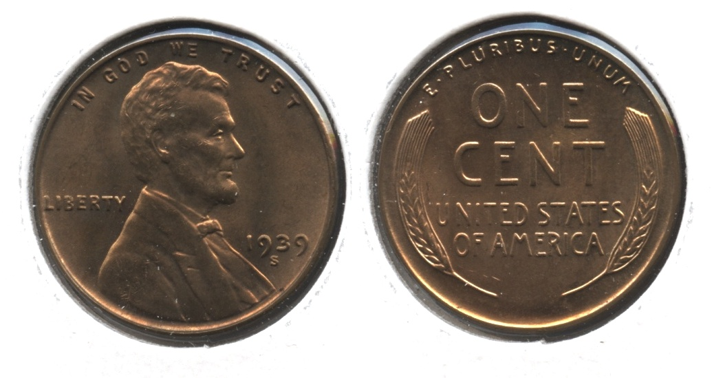 1939-S Lincoln Cent MS-63 Red Brown #p