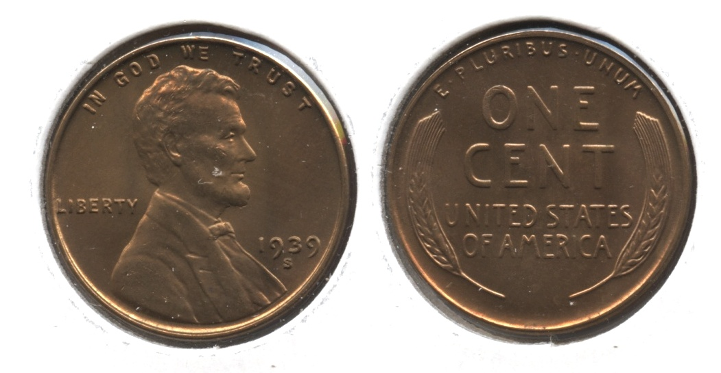 1939-S Lincoln Cent MS-63 Red Brown #r