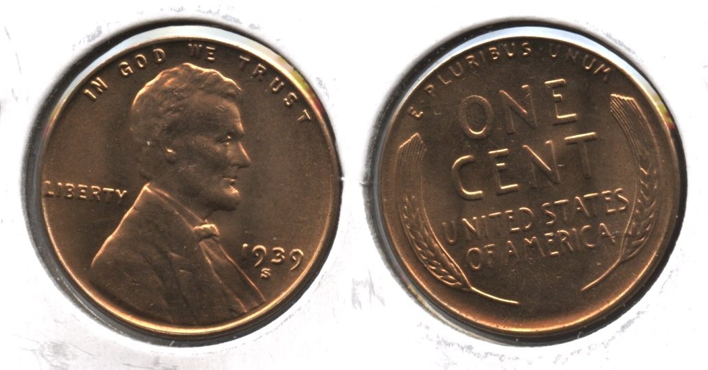 1939-S Lincoln Cent MS-63 Red #a