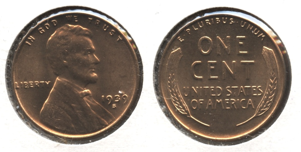 1939-S Lincoln Cent MS-63 Red #l
