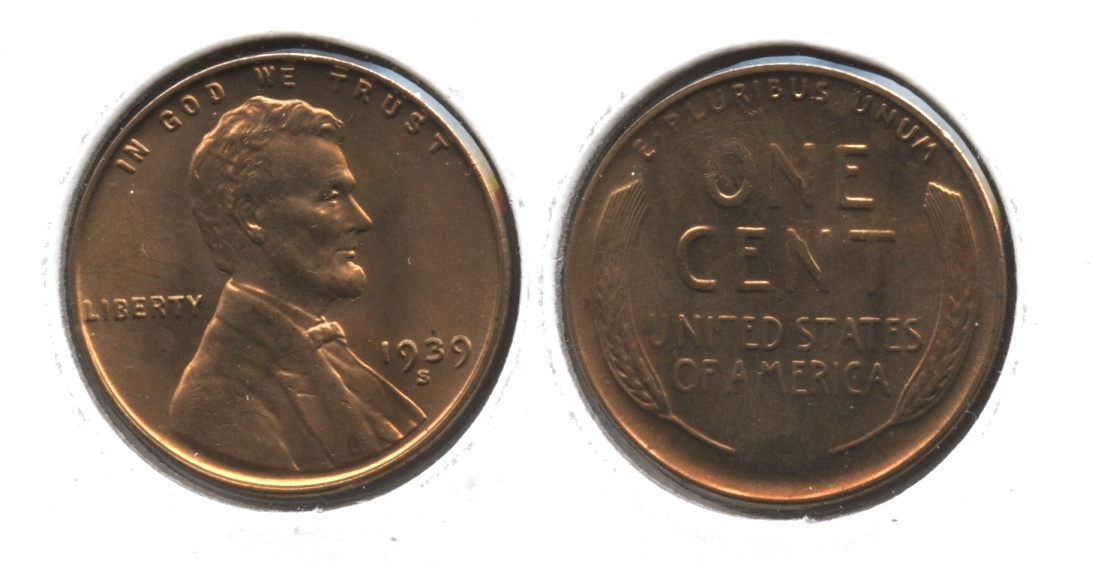 1939-S Lincoln Cent MS-64 Red Brown #b