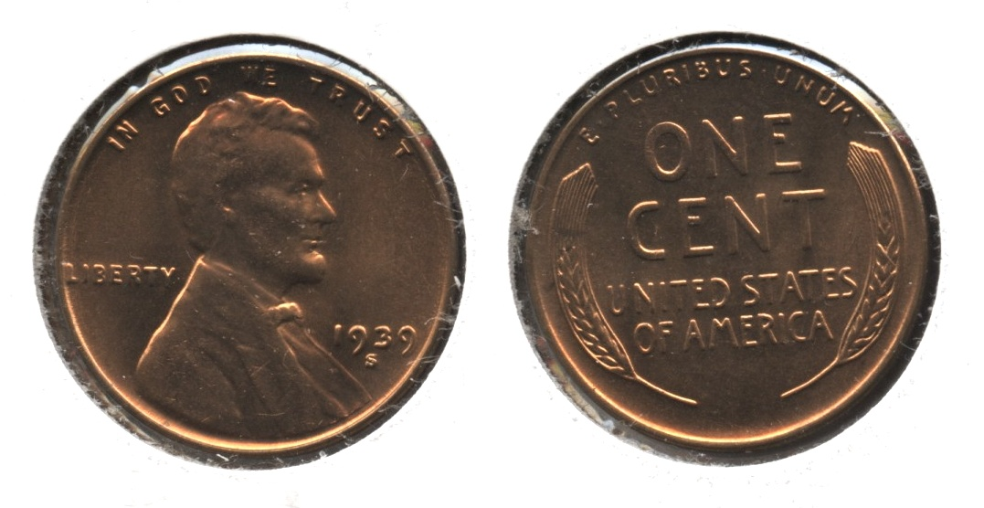 1939-S Lincoln Cent MS-64 Red #b