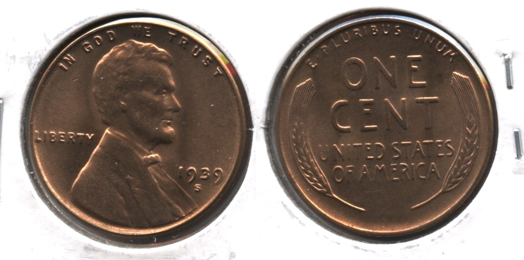 1939-S Lincoln Cent MS-64 Red #d