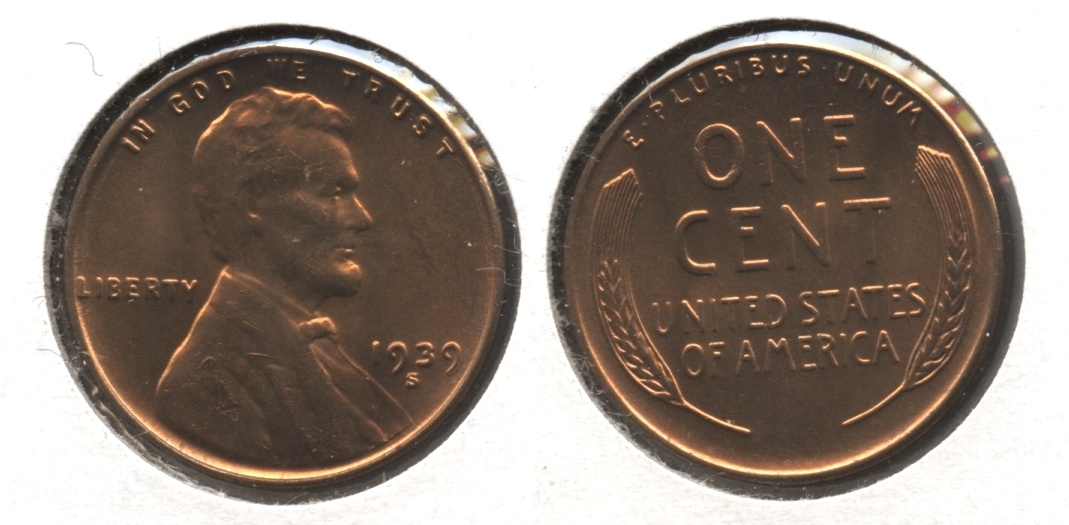 1939-S Lincoln Cent MS-64 Red #e