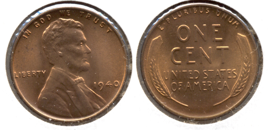 1940 Lincoln Cent MS-63 Red a