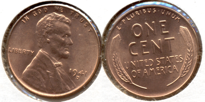 1941-D Lincoln Cent MS-62 Red a