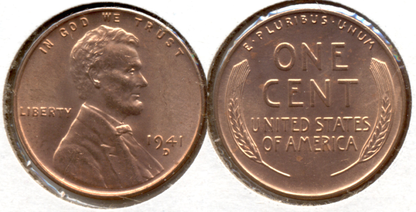 1941-D Lincoln Cent MS-62 Red e