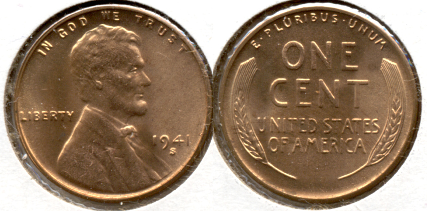 1941-S Lincoln Cent MS-61 Red