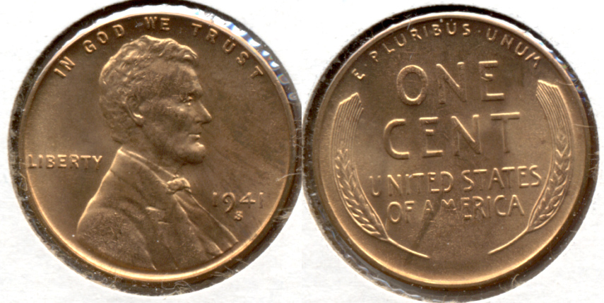 1941-S Lincoln Cent MS-61 Red b