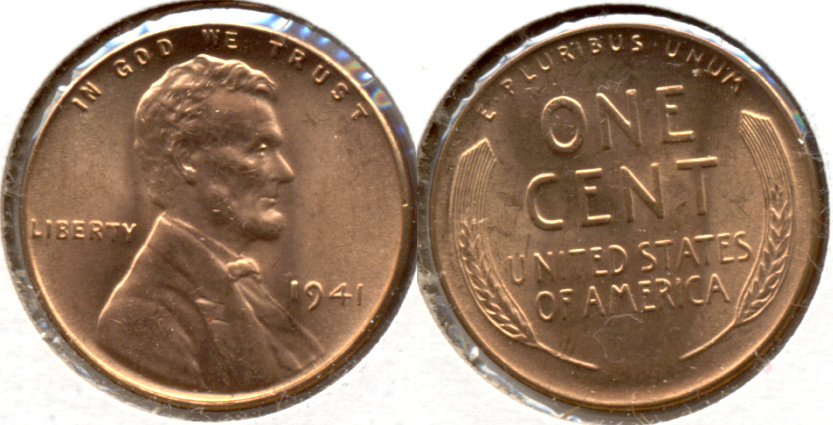 1941 Lincoln Cent MS-62 Red