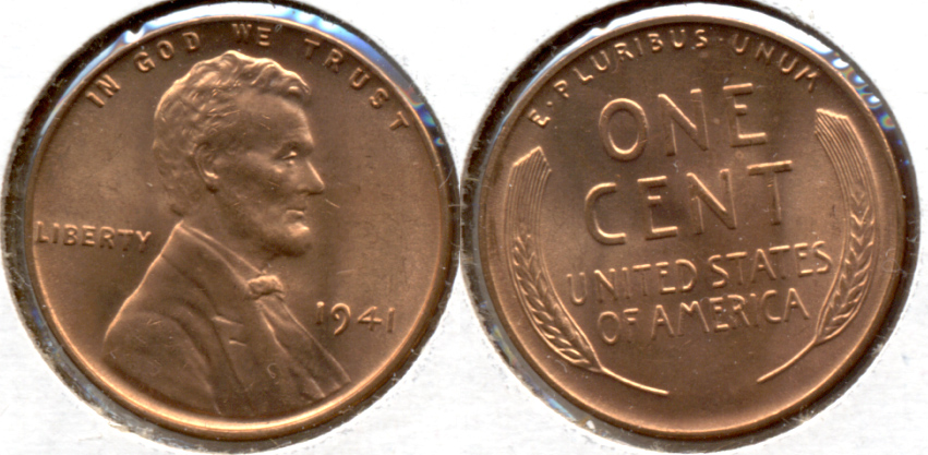 1941 Lincoln Cent MS-62 Red a