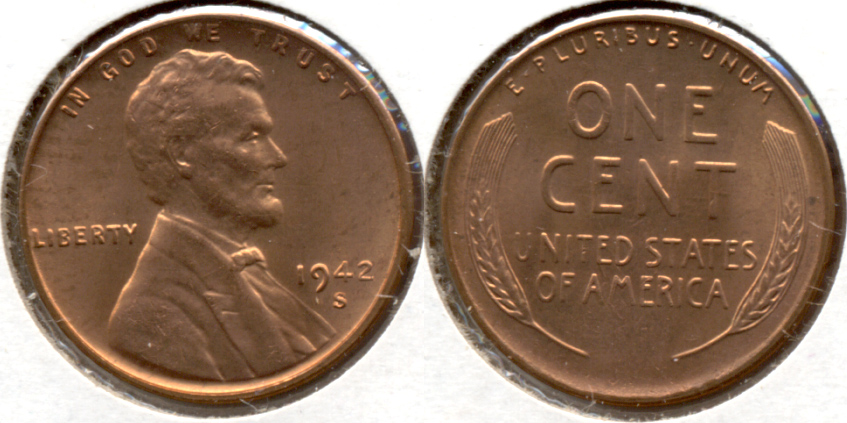 1942-S Lincoln Cent MS-61 Red