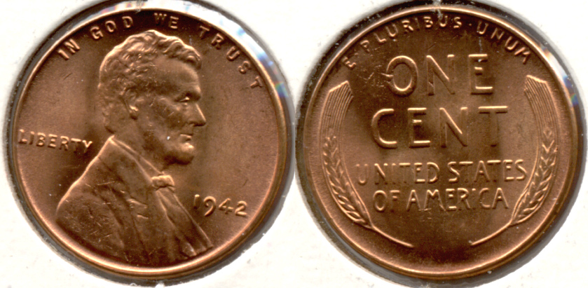 1942 Lincoln Cent MS-62 Red a