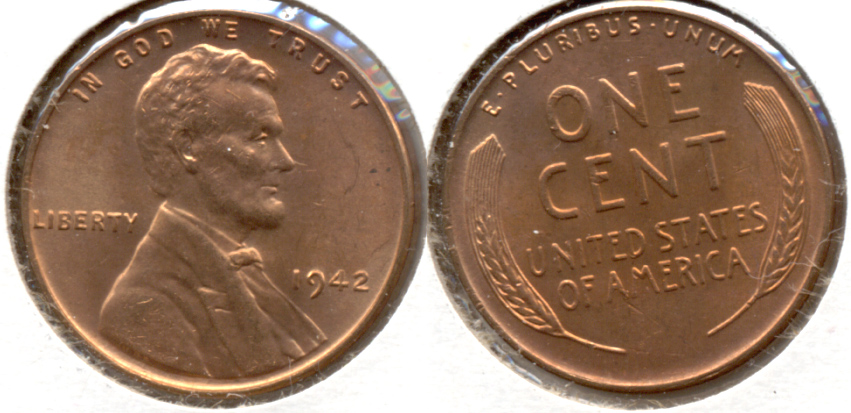 1942 Lincoln Cent MS-62 Red b