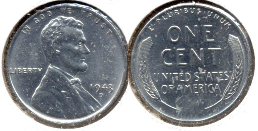 1943-D Lincoln Steel Cent MS-62 h