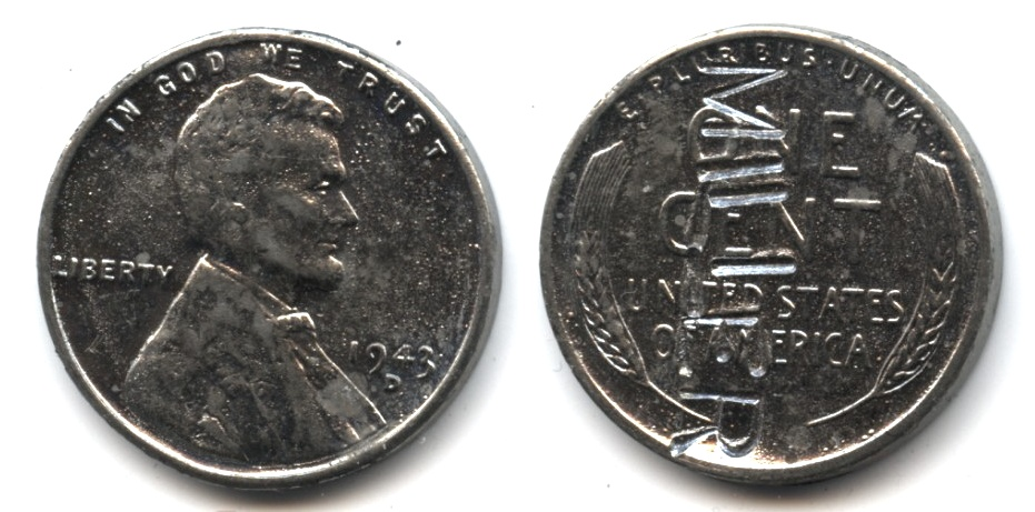 1943-D Lincoln Steel Cent VF-20 Punched Miller