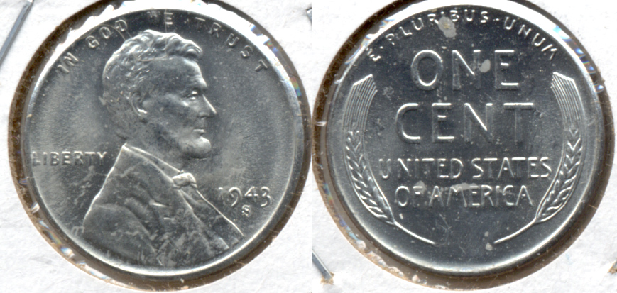 1943-S Lincoln Steel Cent MS-62 f