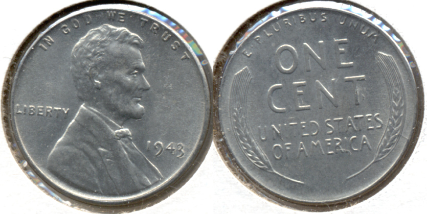 1943 Lincoln Steel Cent MS-62 f