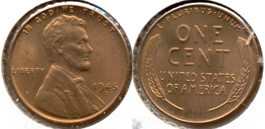 1945-D Lincoln Cent MS-62 Red a