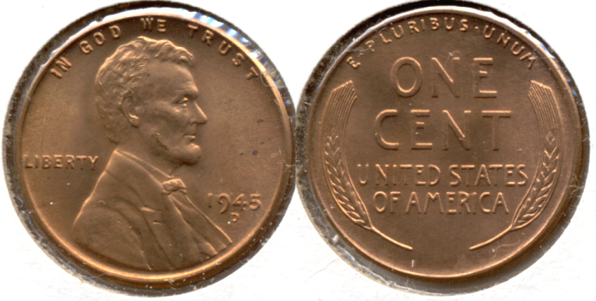 1945-D Lincoln Cent MS-62 Red b