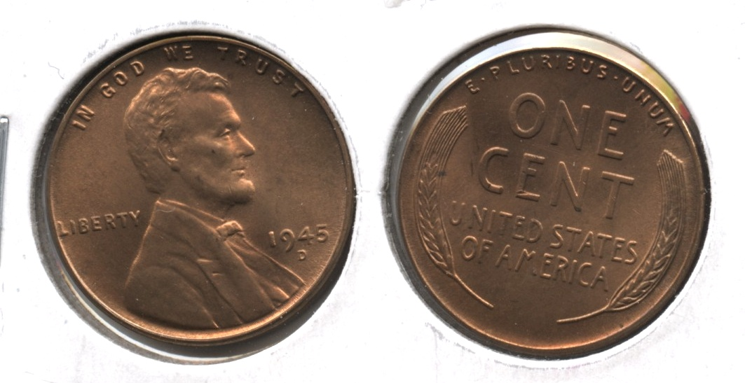 1945-D Lincoln Cent MS-63 Red Brown