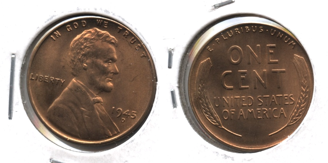1945-D Lincoln Cent MS-64 Red Brown
