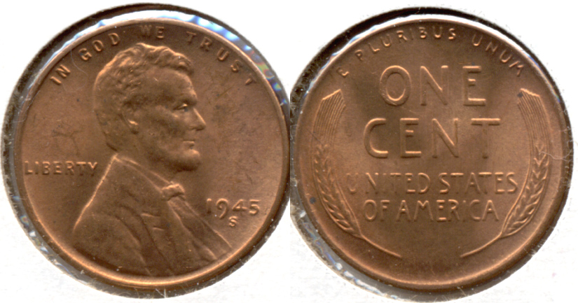 1945-S Lincoln Cent MS-62 Red c