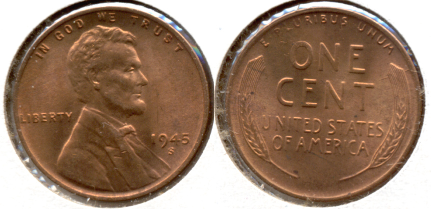 1945-S Lincoln Cent MS-62 Red d