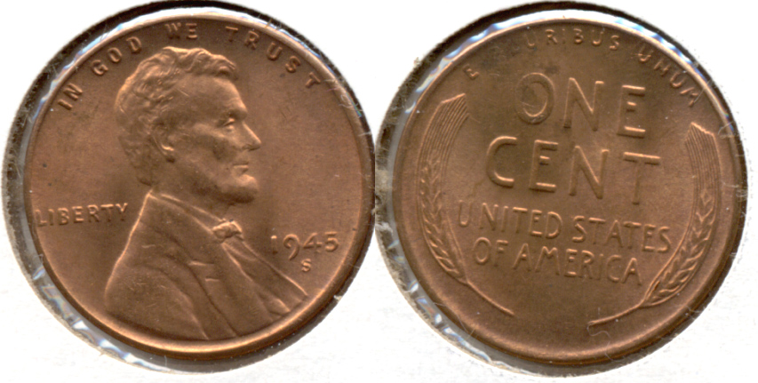 1945-S Lincoln Cent MS-62 Red e