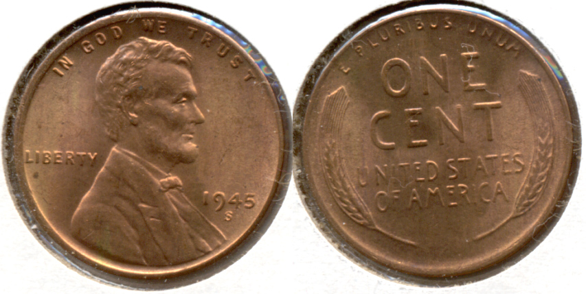 1945-S Lincoln Cent MS-63 Red b