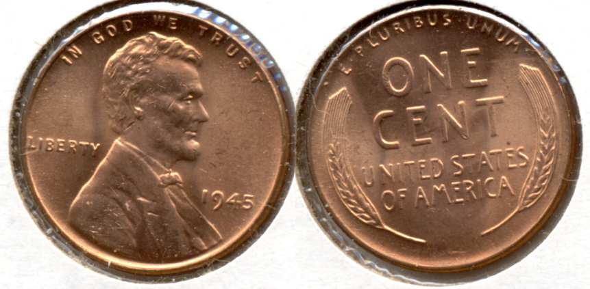 1945 Lincoln Cent MS-63 Red