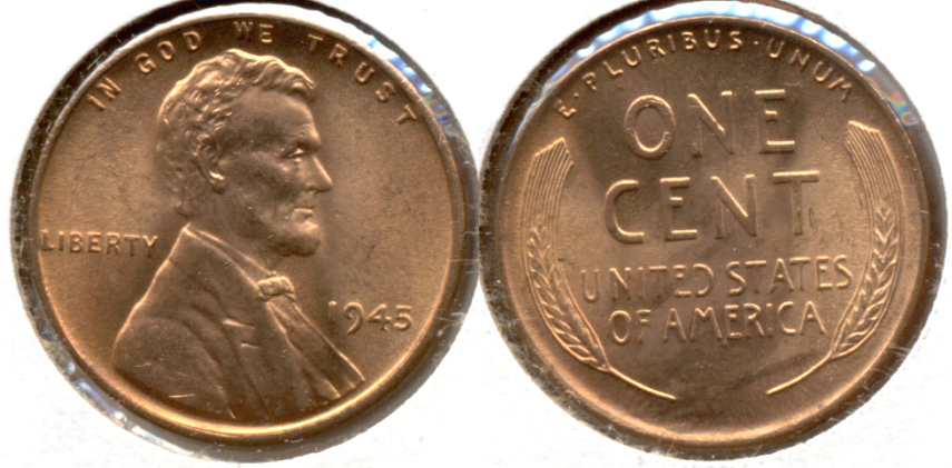 1945 Lincoln Cent MS-63 Red b