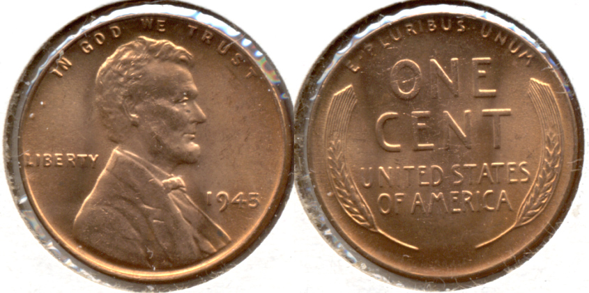 1945 Lincoln Cent MS-63 Red e