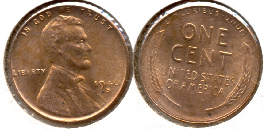 1946-S Lincoln Cent MS-62 Red h
