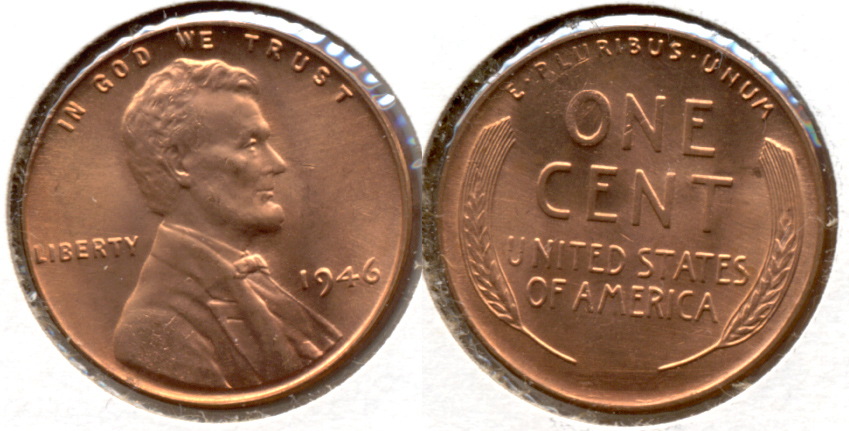1946 Lincoln Cent MS-62 Red d