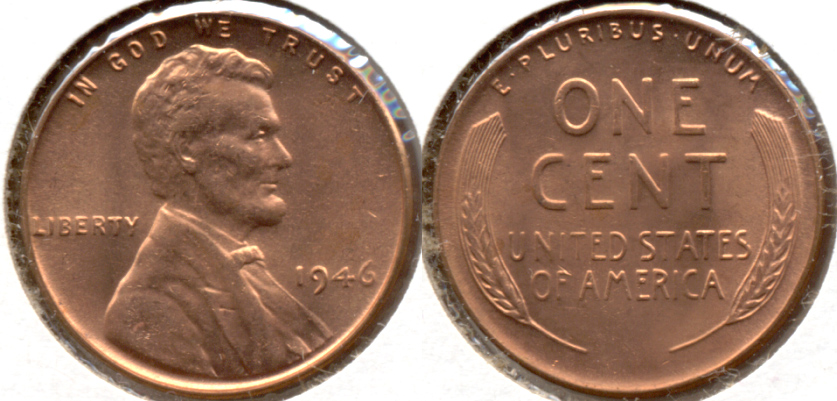 1946 Lincoln Cent MS-62 Red e