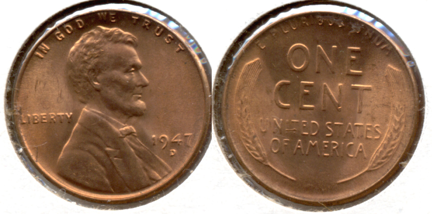 1947-D Lincoln Cent MS-62 Red