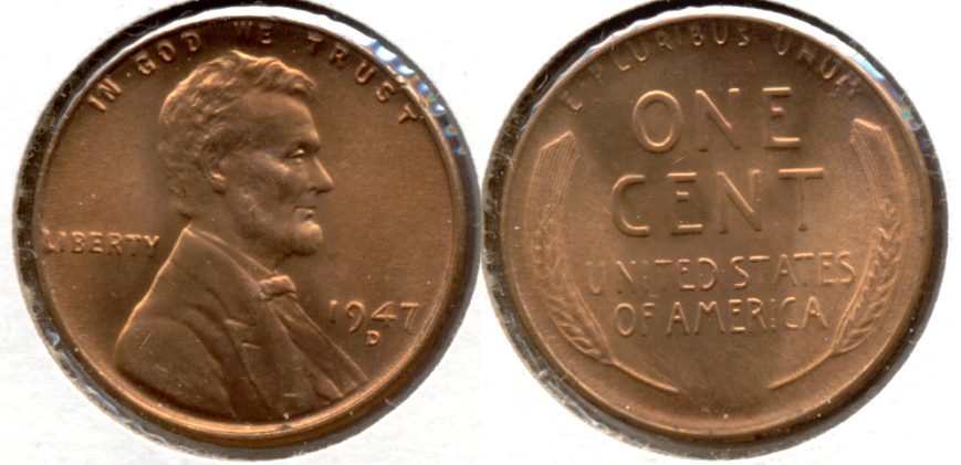 1947-D Lincoln Cent MS-62 Red c