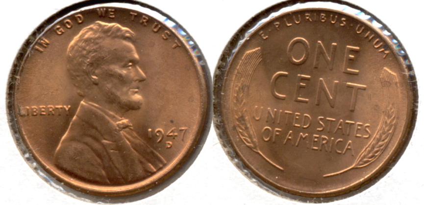1947-D Lincoln Cent MS-62 Red e