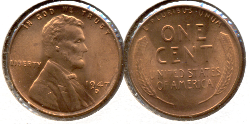 1947-D Lincoln Cent MS-62 Red f