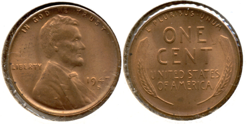 1947-S Lincoln Cent MS-62 Red a