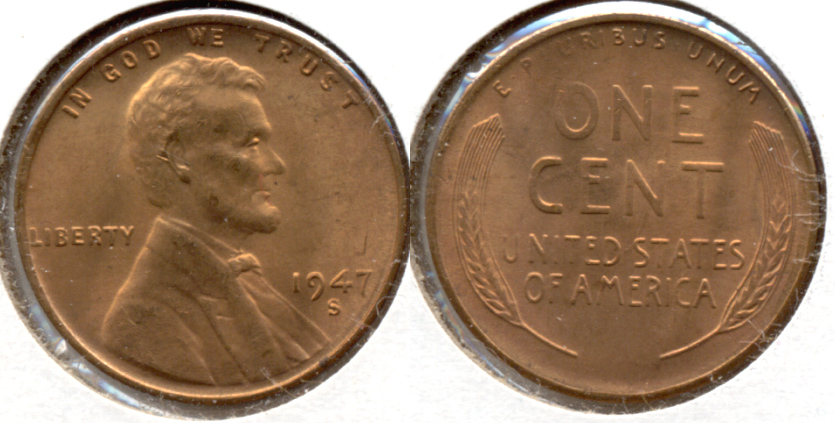 1947-S Lincoln Cent MS-62 Red b