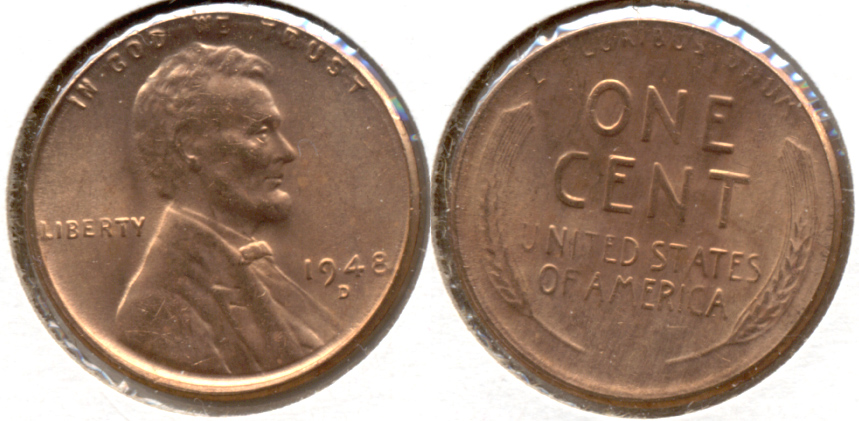 1948-D Lincoln Cent MS-62 Red