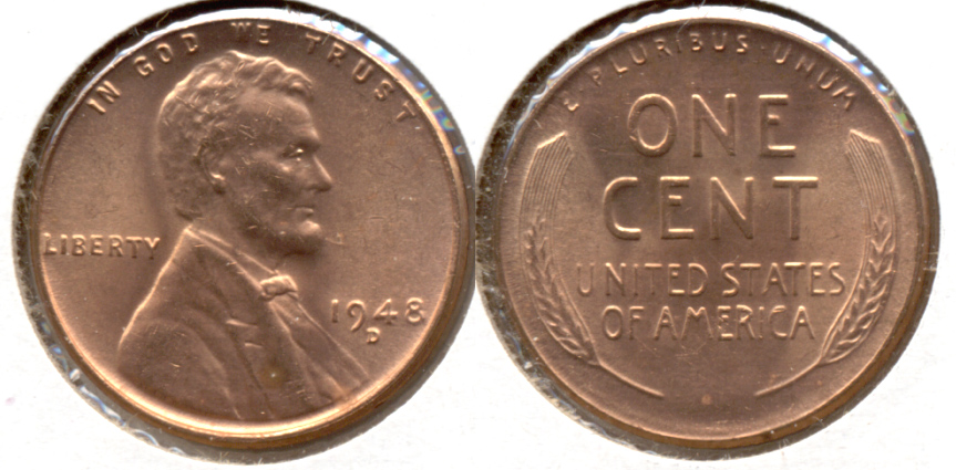 1948-D Lincoln Cent MS-62 Red a